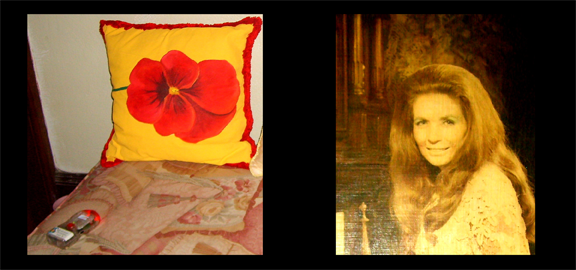 EMF detector indicating an anomaly (left) on a couch at the Johnny Cash house in Jamaica. The pillow was hand sewn by June Carter Cash (right), shown in photograph on display at the house. (staff photo)