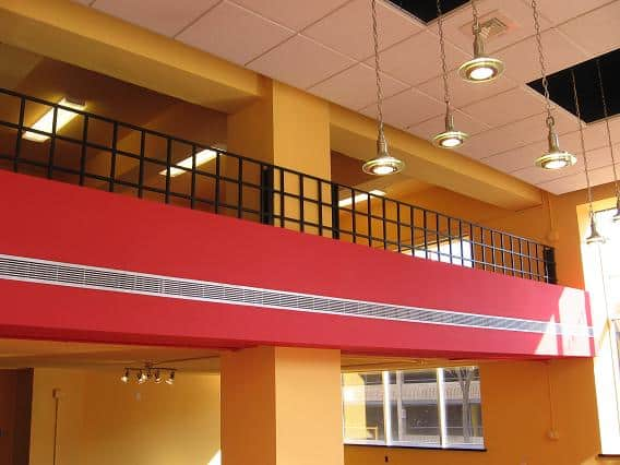 Bold Office Building Atrium with Red and Orange