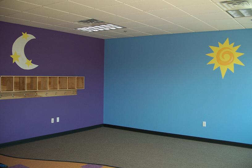 Childrens Playroom with Contrasting Wall Colors