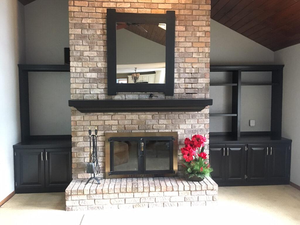 Stone Fireplace with Trim Work