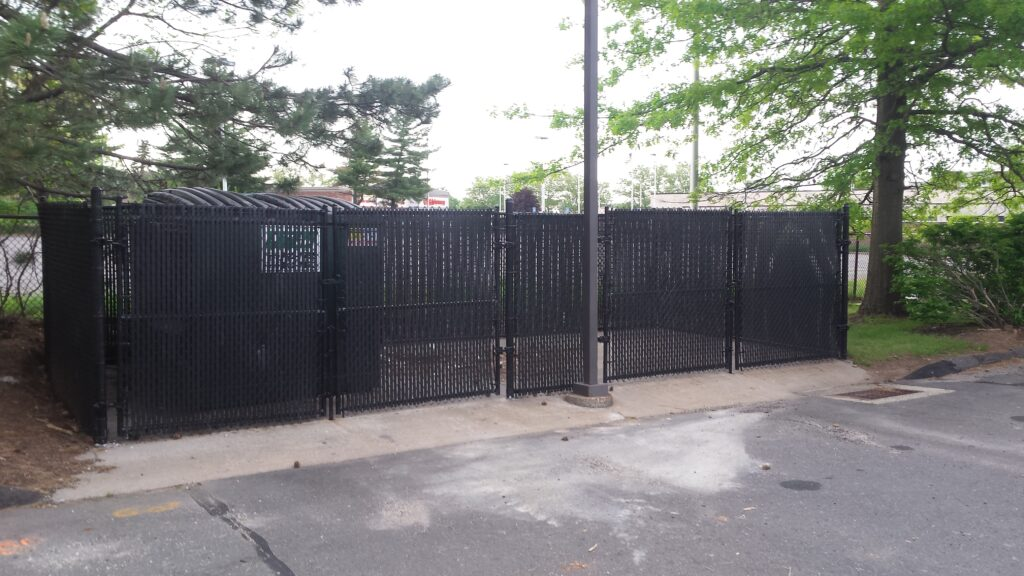 6_ H Black Vinyl Coated Chain Link Dumpster Enclosure with Privacy Slats 2