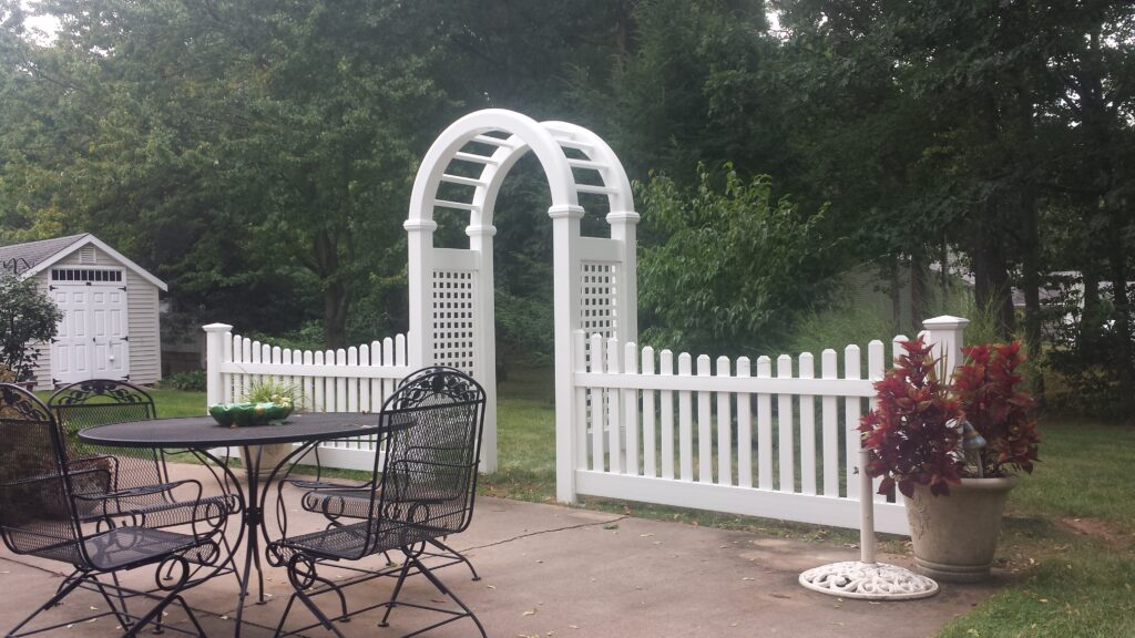 Solid White Arbor With Picket Sides