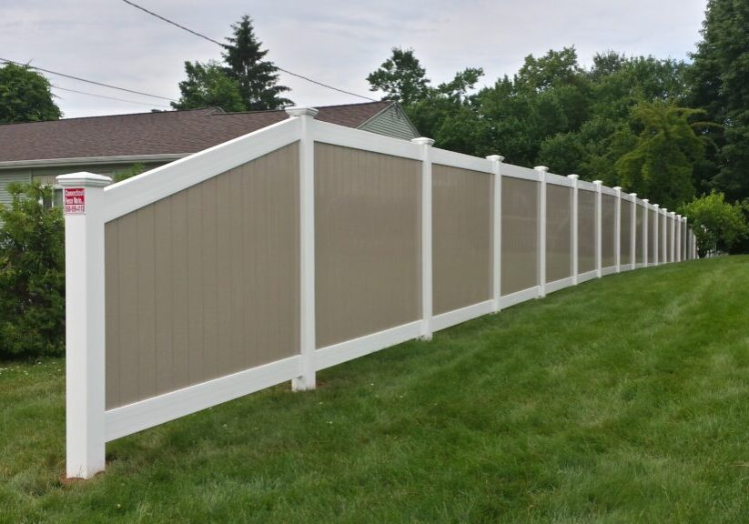 6_ H Two-Tone Solid Privacy Vinyl Fence