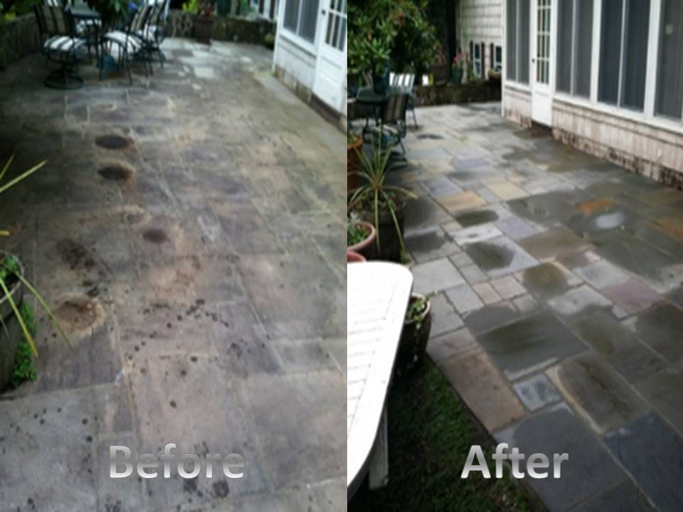 slate patio before and after