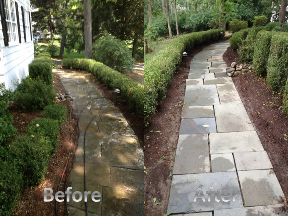 slate walkway before and after