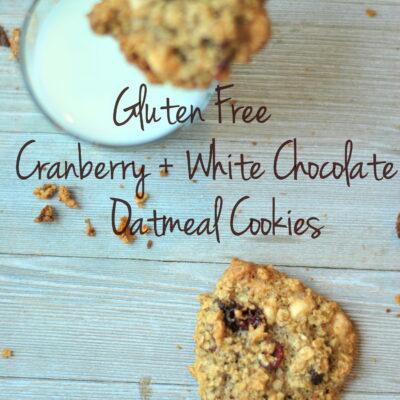 Cranberry + White Chocolate Oatmeal Cookies (GF)