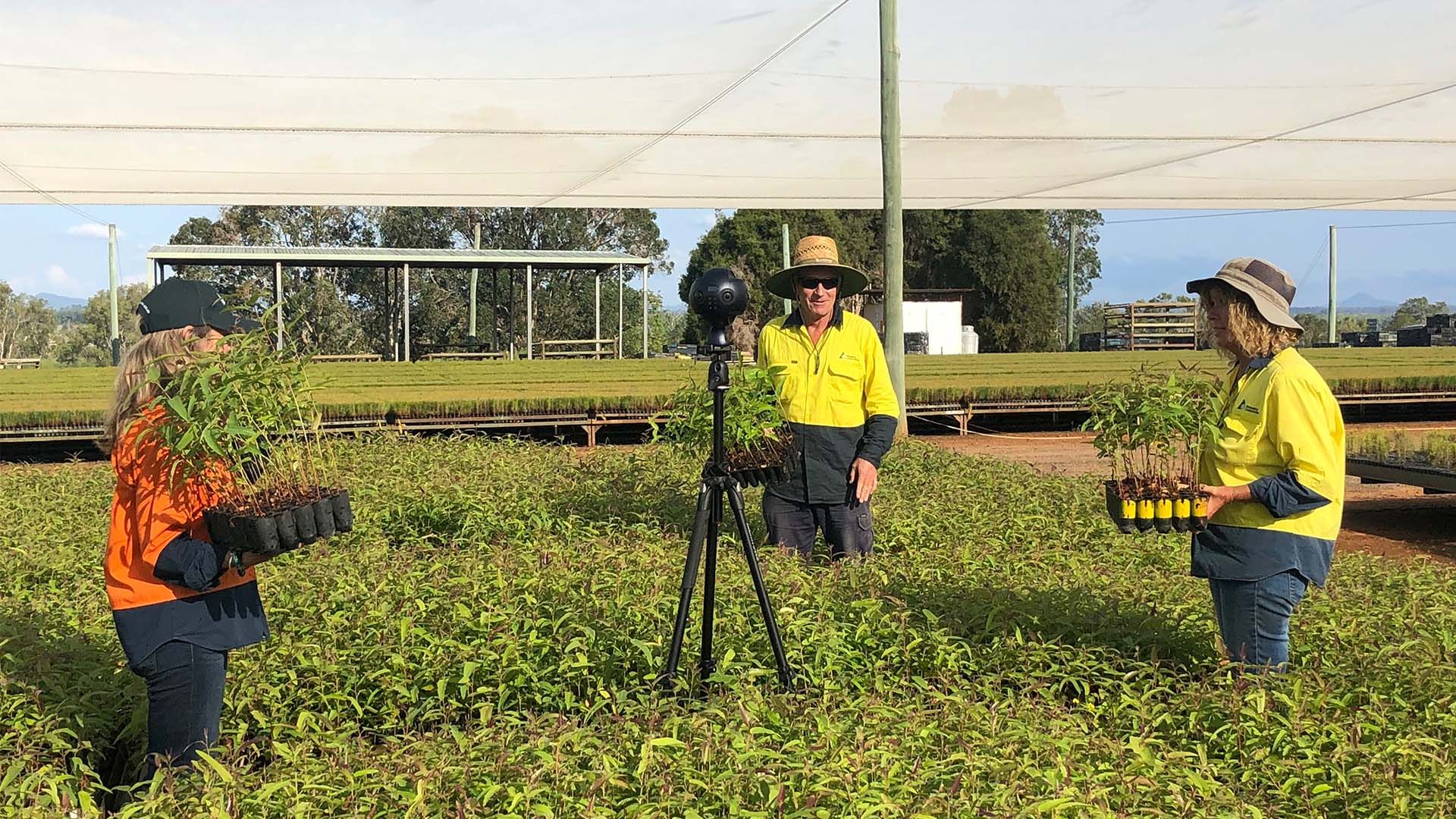 On set filming Agricultural 360 video production experience for Forest Learning