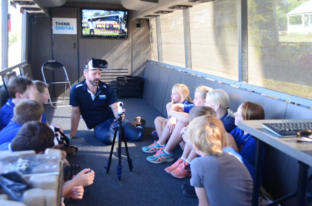 Tim and kids on board the Think Digital Coach learning about 360 video and photo