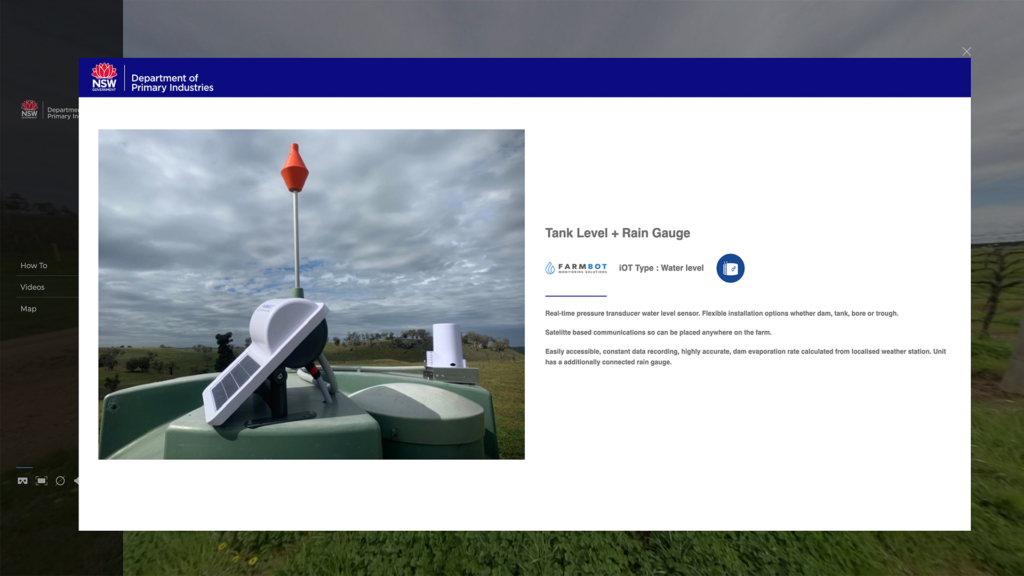 Farm Virtual Tour hotspot pop up for Farms of the Future NSW Department of Primary Industries