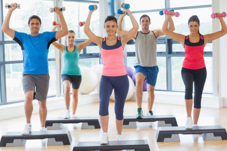 Group of people exercising in a fitness center