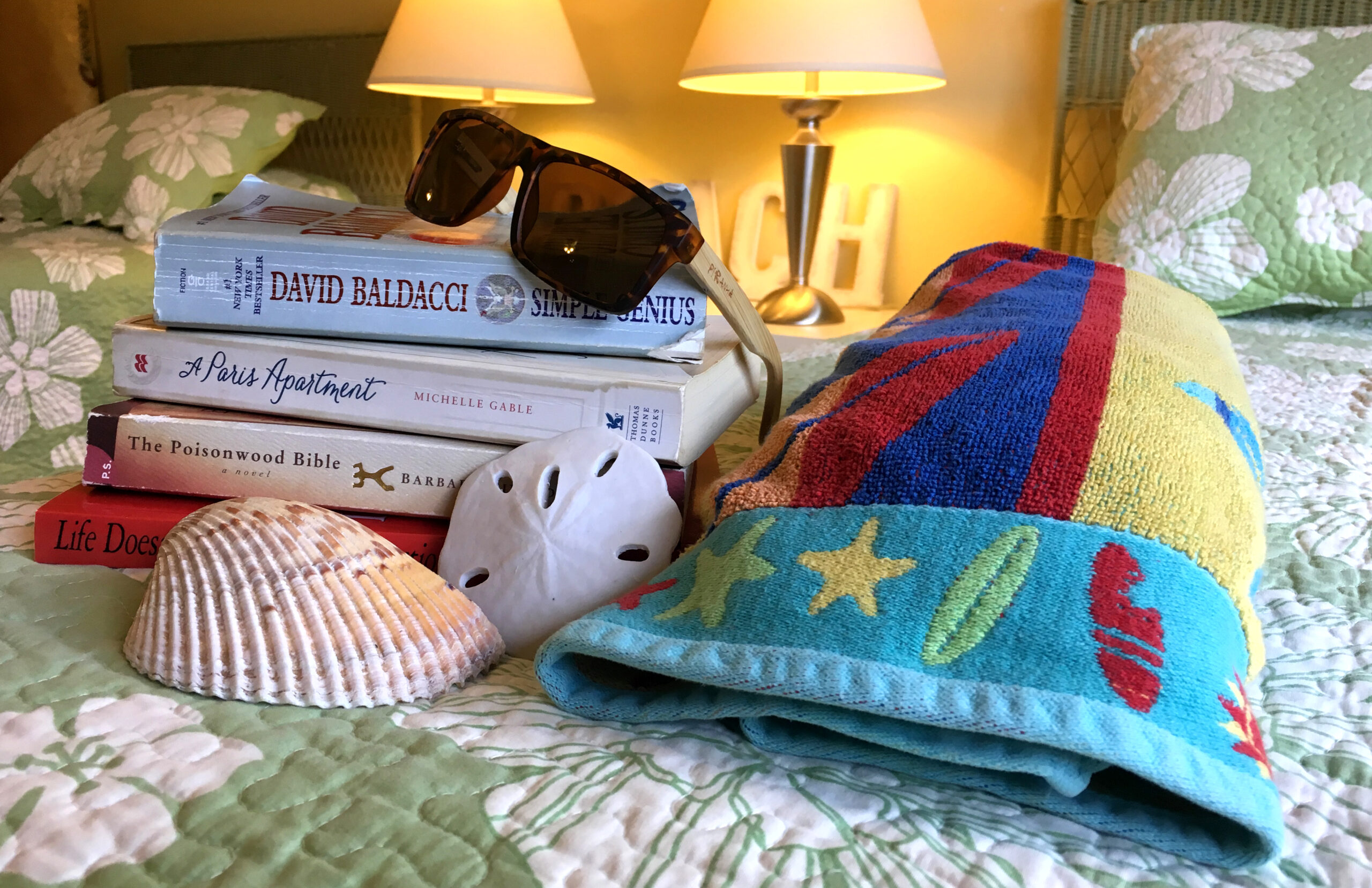 Books and beach gear in Kauai Vacation rental