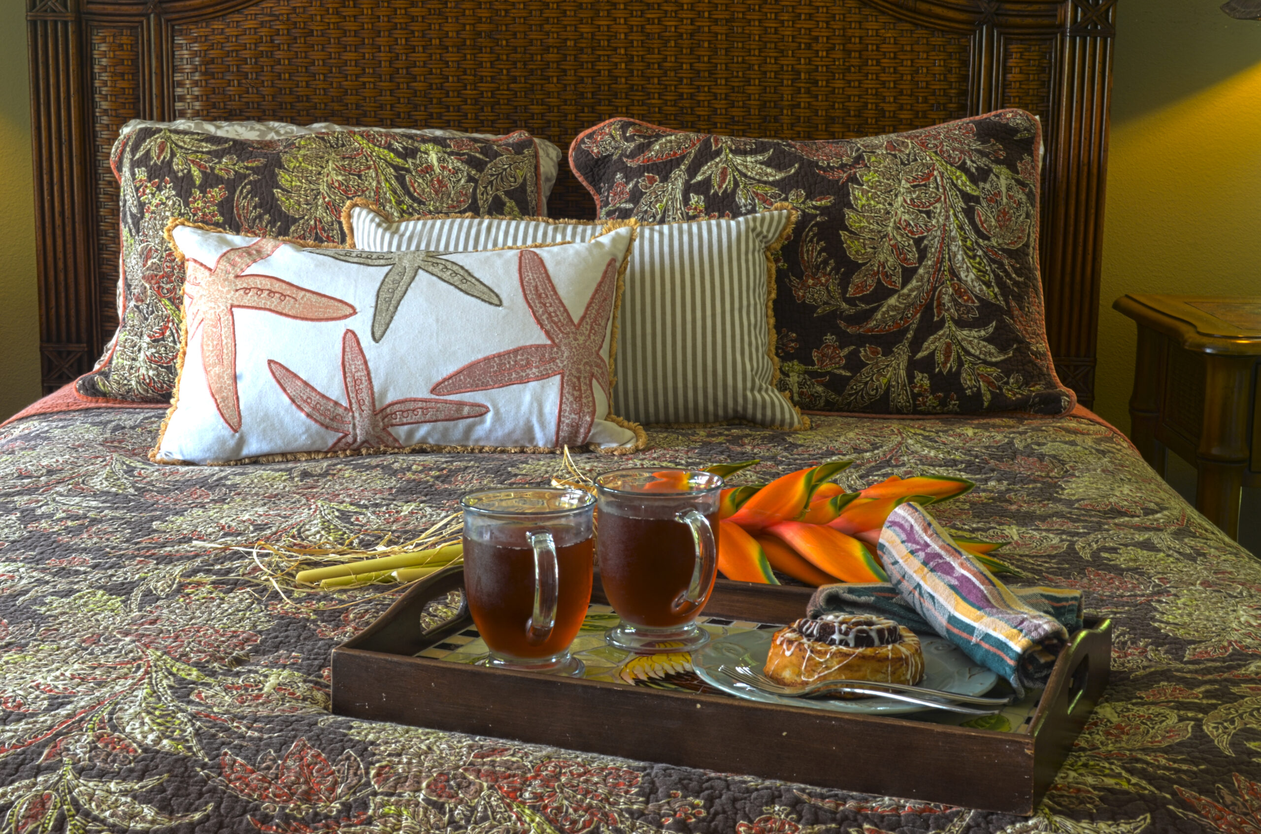 Breakfast tray in Kauai rental master bedroom