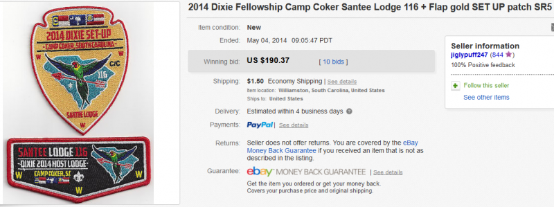 ebay auction ended on May 4, 2014 for both patches