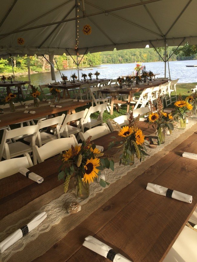 farm tables and burlap runners for rustic wedding