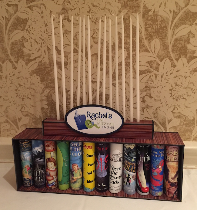 Books and Bookshelf Candle Lighitng Piece for Book Themed Mitzvah
