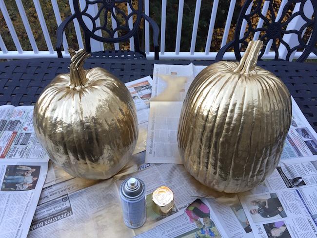 Gold Spray Painted Pumpkins