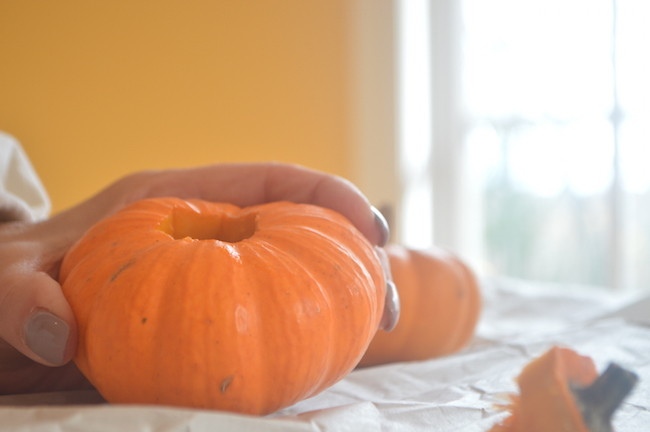 Hole Cut Out of Pumpkin for Candle Stick