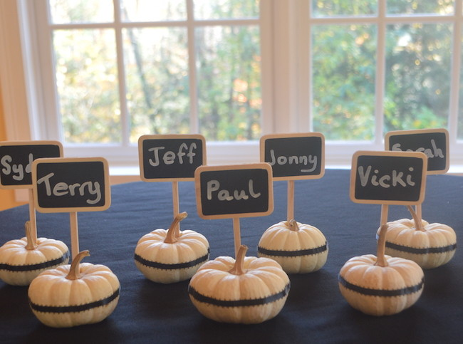 all lined up - finished white pumpkin chalkbord place cards