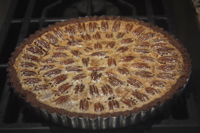 Baked Chocolate Pecan Tart Before Chocolate Syrup Drizzle copy