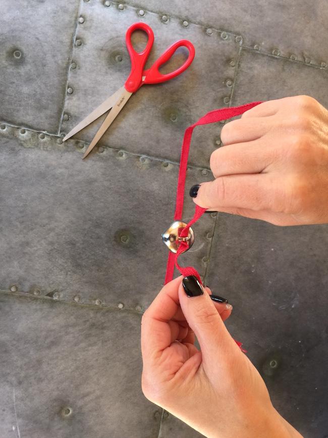 string bell through ribbon