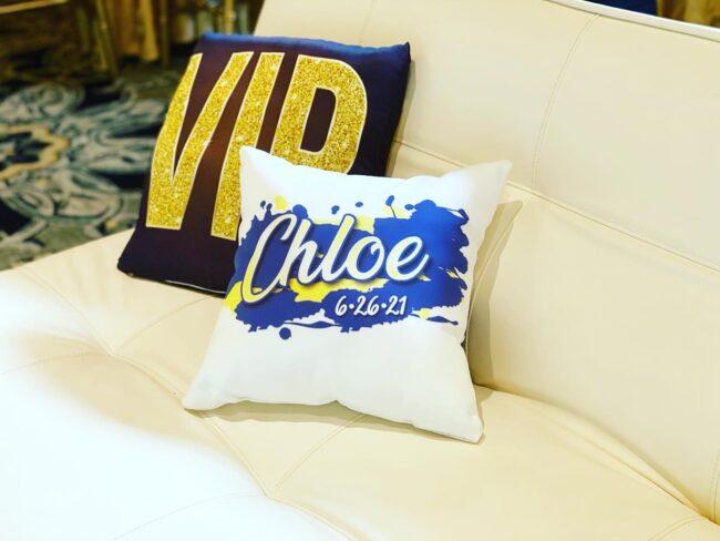 VIP area logo'd pillows