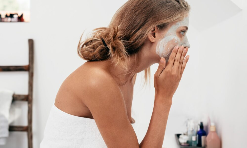 Woman taking care of her facial skin