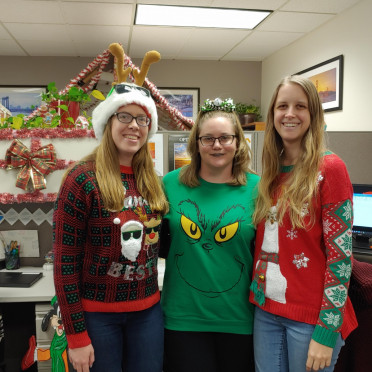 """The 2019 """"Ugly Sweater"""" contest in the Sacramento office."""