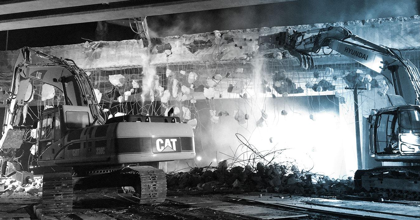 Demolition at a construction site