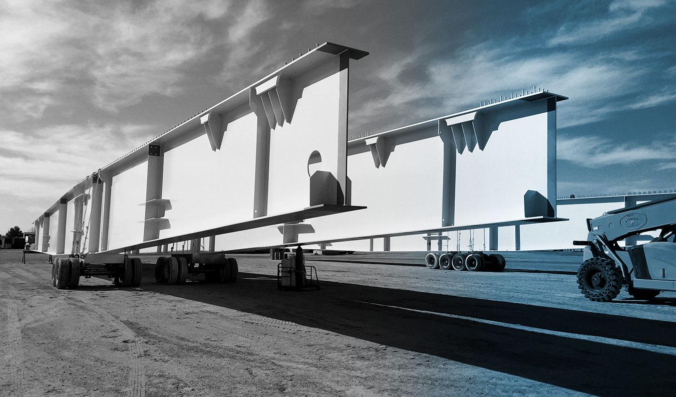 Steel crossbeams for bridge construction