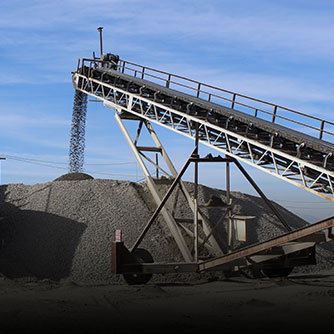 Conveyor belt creating an aggregate stockpile (click for more info on the IA/RSP project)