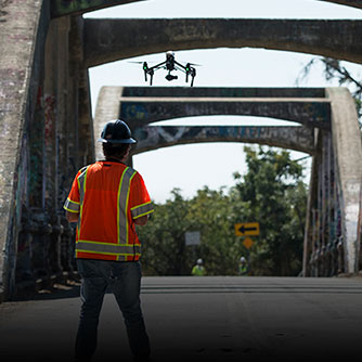 A drone equipped with LiDAR collects structural data on the Stevenson Bridge. Click for more information on this project.