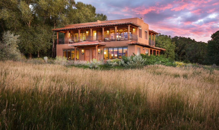 Two story Spring House at sunset