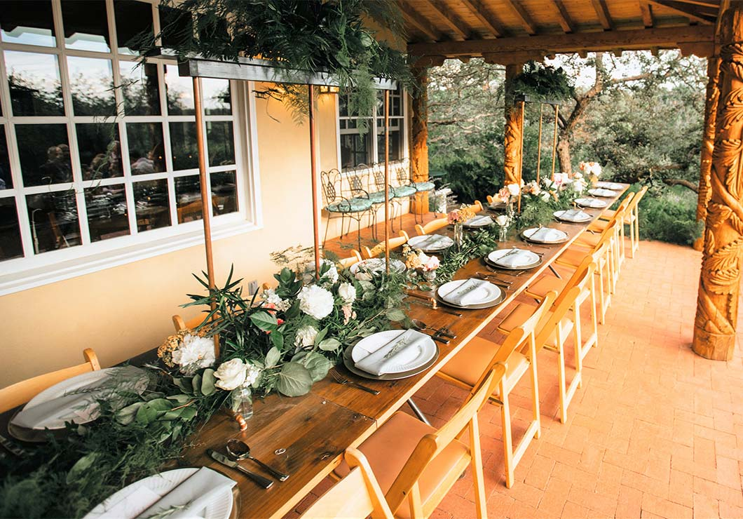 Event dinner table in covered patio
