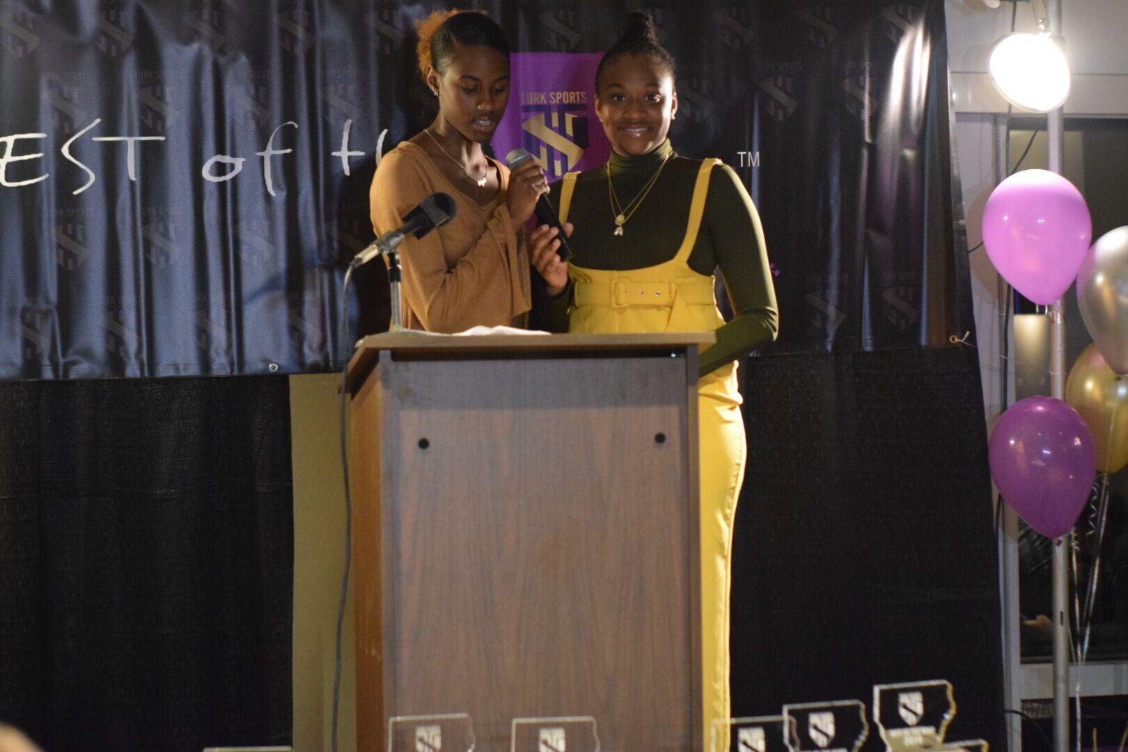 Aaliah Clark & Alana Richardson present the award for Best Athlete Softball