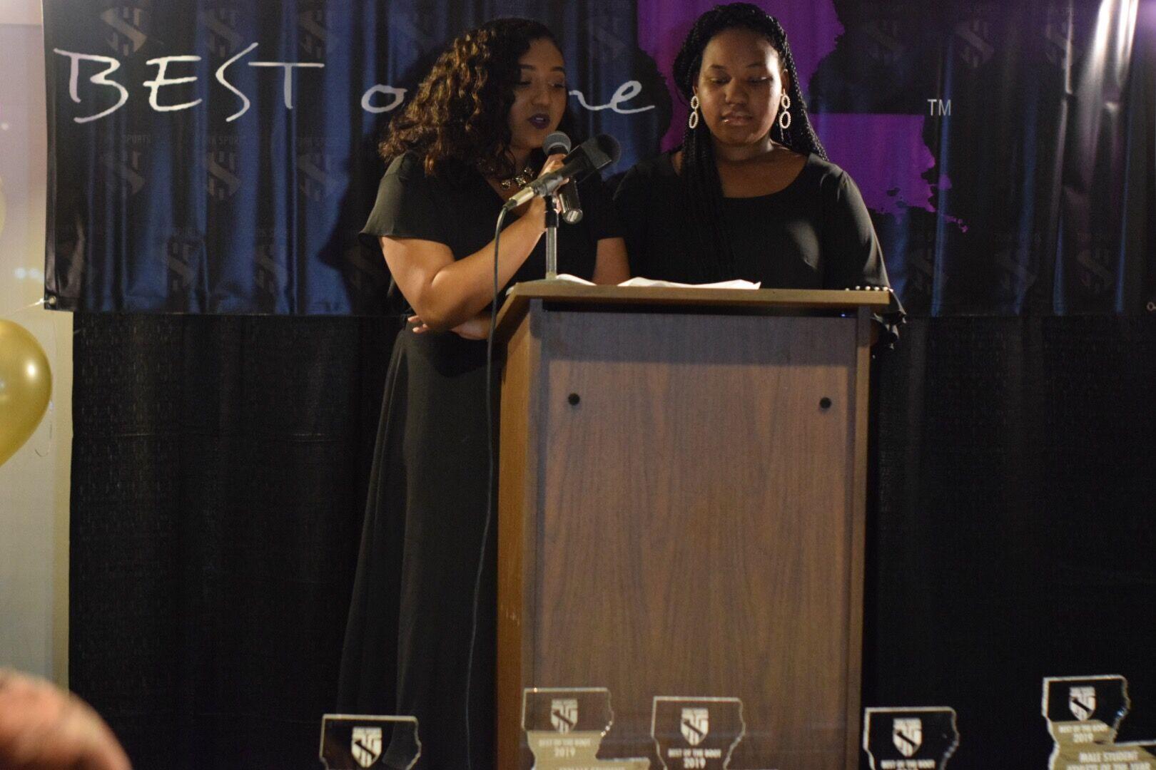 Amari Hurst & Jazmyn Mackie present the award for Female Student-Athlete of The Year