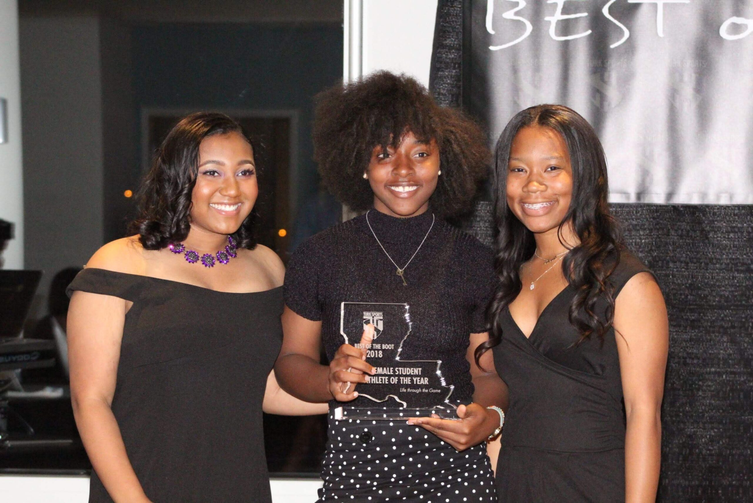 Genise Wells- Female Student-Athlete of the Year w/ presenters Amari Hurst & Alexis Lawson