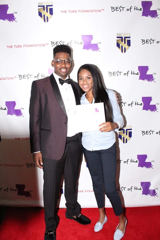 """Earl """"Turk"""" Mackie w/ Female Student-Athlete of the Year Taylor Harris"""