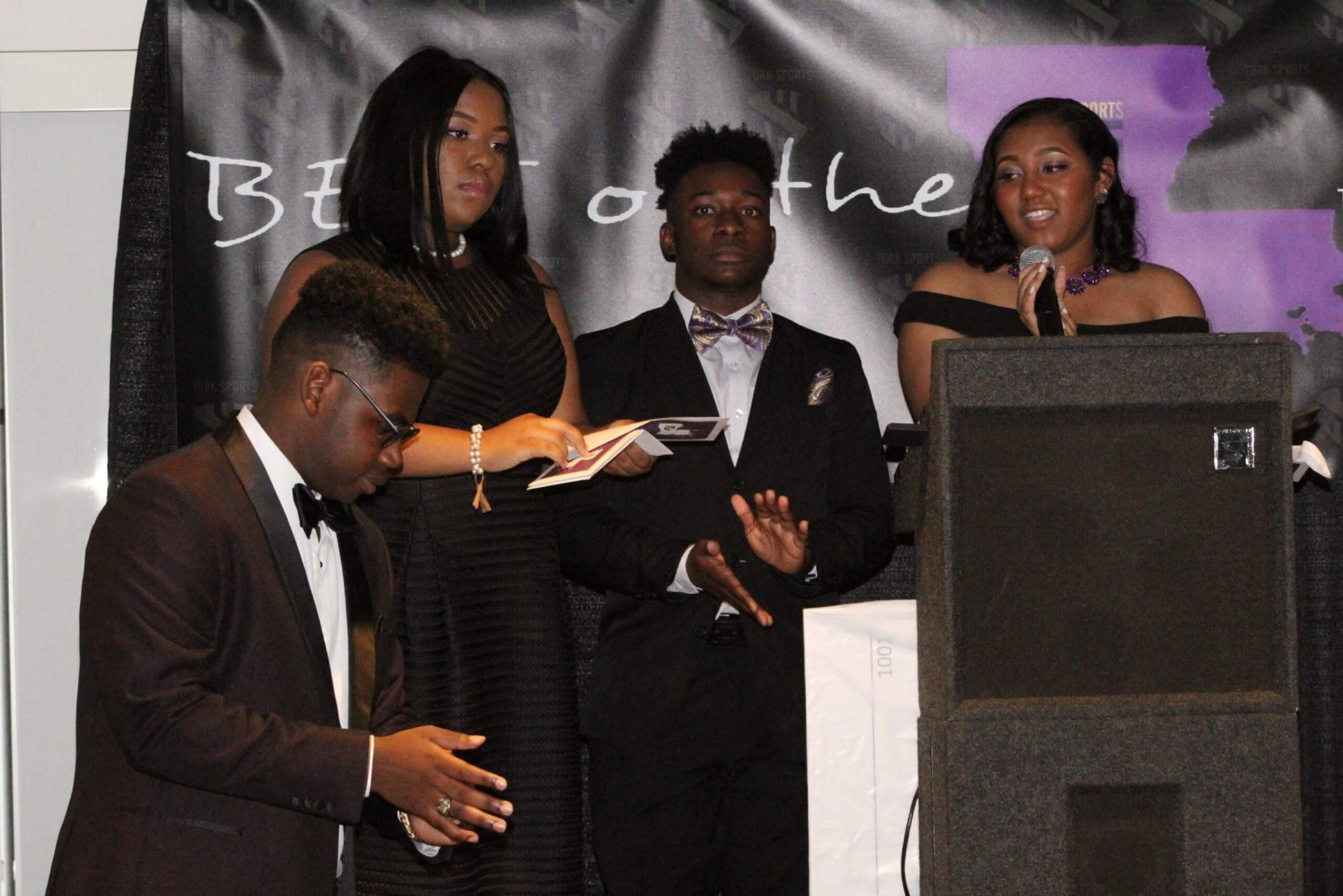 """Members of Turk's Team Share a Thought with attendees- (left to right) Earl """"Turk"""" Mackie, Jazmyn Mackie, Lance Jones & Amari Hurst"""