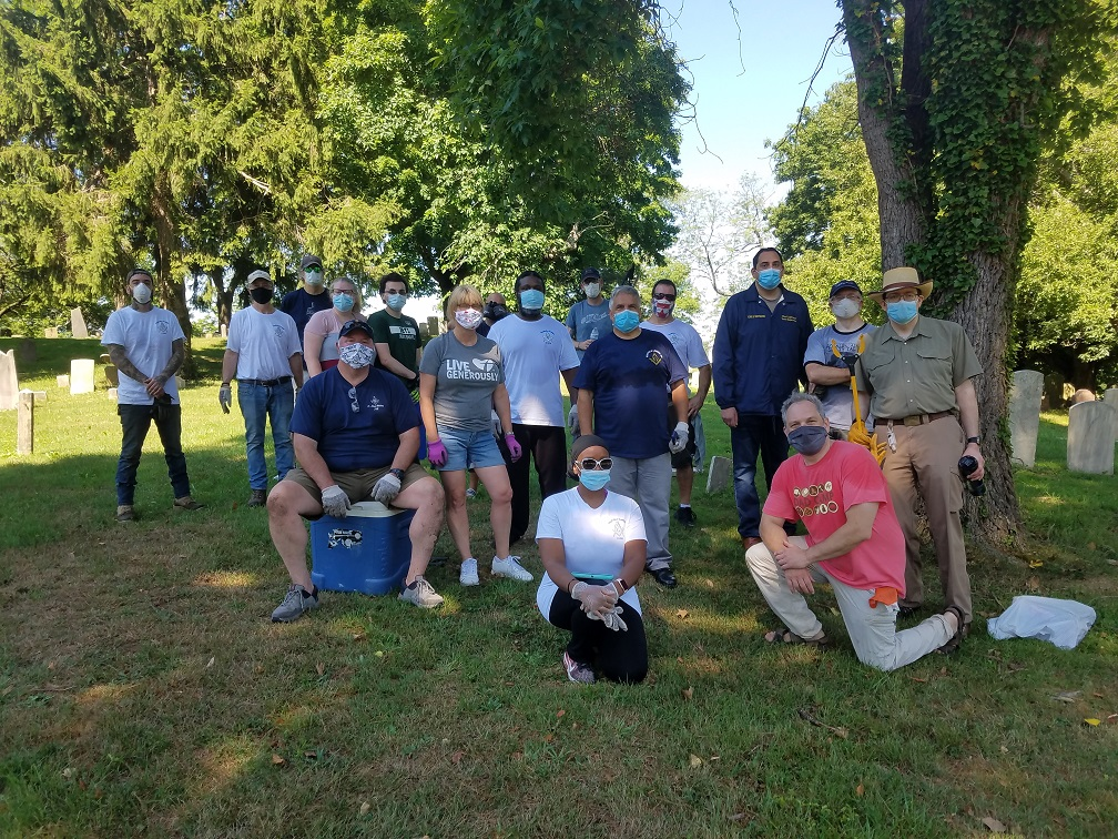The Jephtha volunteers with Huntington Town Supervisor and Historian