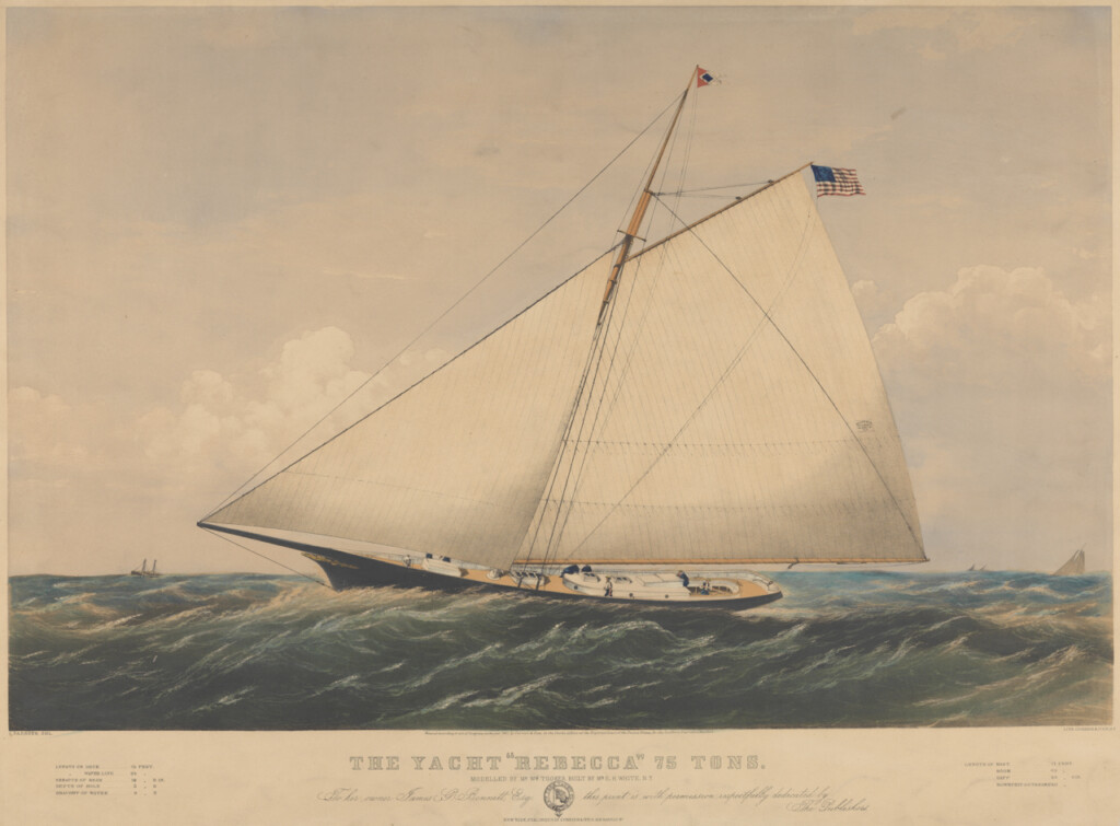 Lithograph of American Yacht