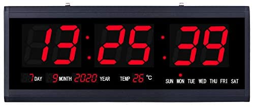 18.9 Inch Large Oversized LED Wall Clock with Seconds Date Day Indoor Temperature Adapter Included,Mounted Electric Wall Desk Clock Timer Decorative for Living Room Office Conference Room Bedroom,Red
