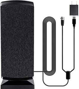 2021 Indoor Outdoor Amplified HD Digital TV Antenna Long 280+ Miles Range - Support 4K 1080p Fire tv Stick and All TV's - Smart Switch Amplifier Booster - 18ft Coax HDTV Cable/AC Adapter (Renewed)