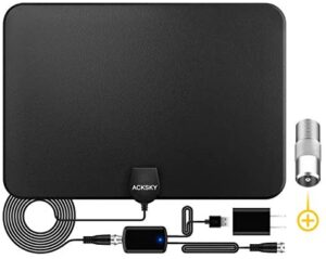ACKSKY TV Antenna, Amplified HD Digital Indoor Antenna Long 200+ Miles Range with 2021 Advanced Amplifier Signal Booster-Support 4K 1080p Fire TV Stick and All TV's - 18ft HDTV Coax Cable/AC Adapter