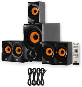 Acoustic Audio by Goldwood Acoustic Audio AA5170 Home Theater 5.1 Bluetooth Speaker System with FM and 4 Extension Cables, Black
