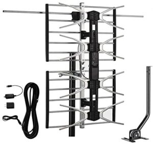 AirDiff HDTV Digital Outdoor Antenna Amplified 150 Miles Long Range - UHF/VHF Signals/Hardware Mounting Pole/ 40 Feet RG6 Coaxial Cable/Easy Install