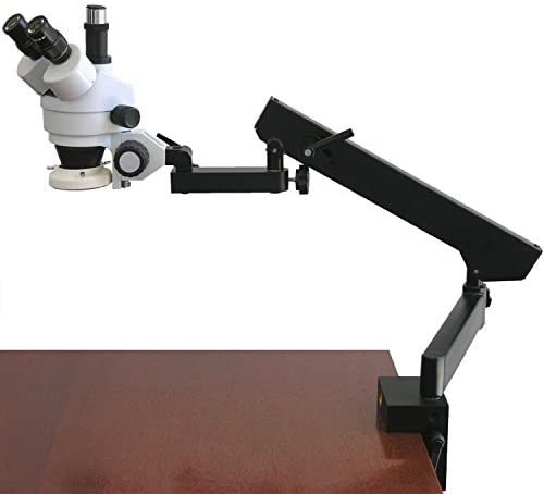 AmScope SM-6TX-FRL Professional Trinocular Stereo Zoom Microscope, WH10x Eyepieces, 3.5X-45X Magnification, 0.7X-4.5X Zoom Objective, 8W Fluorescent Ring Light, Clamping Articulating Arm Stand 110V-120V, Includes 0.5X Barlow Lens