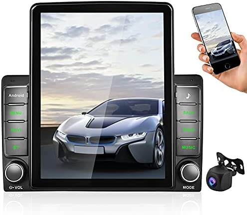 Android Car Stereo Double Din with GPS Bluetooth Radio Car with 9.5'' Vertical Touch Screen + WiFi + AHD Backup Camera + FM + Support Mirror Link & SWC & Dual USB