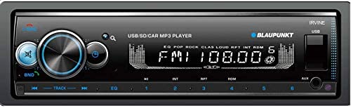 BLAUPUNKT Irvine70 Multimedia Car Stereo - Single DIN LCD Display with Bluetooth Streaming, Hands-Free Calling, MP3/USB Front Aux, AM/FM Receiver - Detachable Faceplate
