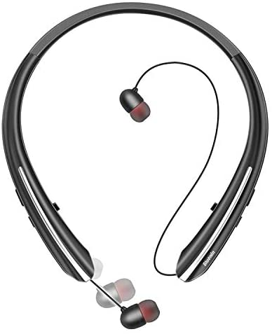 Bluetooth Headphones, Bluenin Neckband Wireless Bluetooth 5.0 Headset Hi-Fi Stereo Sound Noise Cancelling Earphones with Retractable Earbuds with Mic
