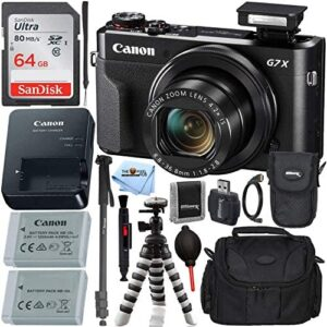 """Canon PowerShot G7 X Mark II Digital Camera (Black) with Ultimate Accessory Bundle - Includes: Ultra 64GB SDXC Memory Card, Extra Battery, 72"""" Monopod, 8"""" Gripster, Carrying Case & More"""